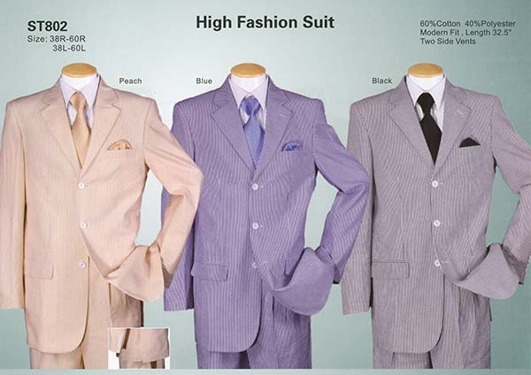 Longstry New York ST802 Mens High Fashion Seersucker Suit