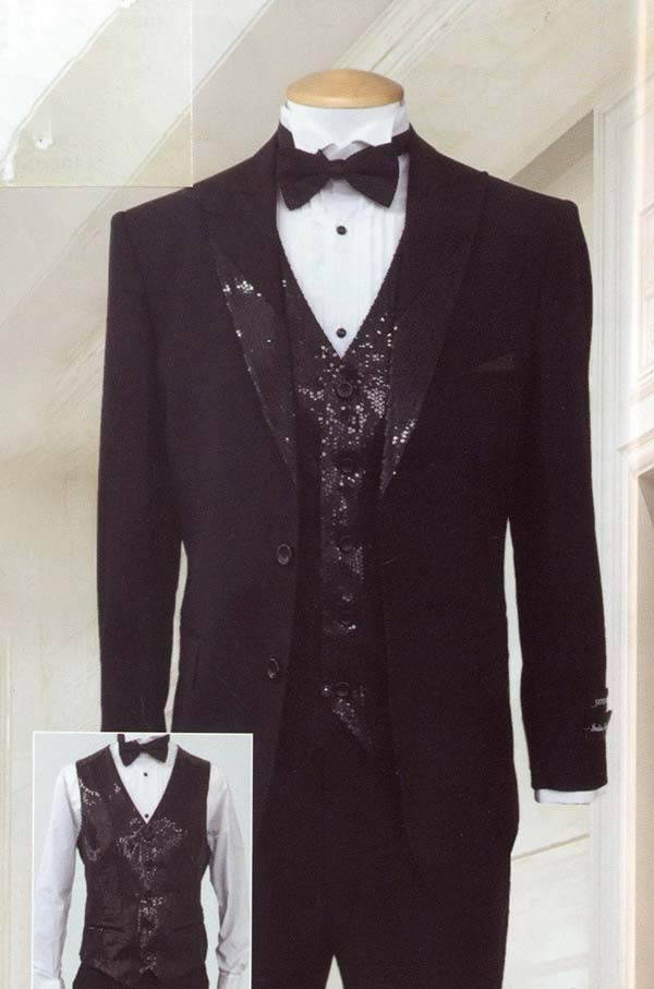 Longstry New York T713 Mens Super Wool Feel Three Piece Tuxedo