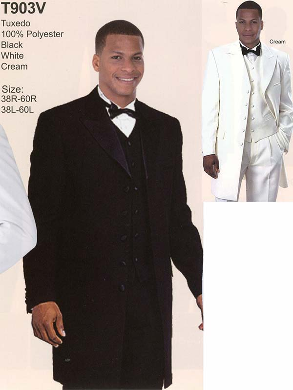 Longstry New York T903V Mens Three Piece Tuxedo With Long Coat