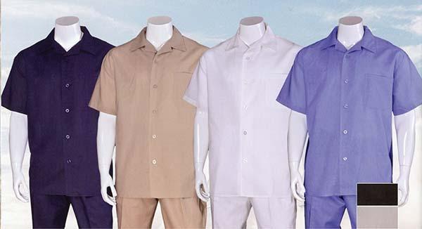 Longstry 2806L Mens Short Sleeve Linen Walking Suit