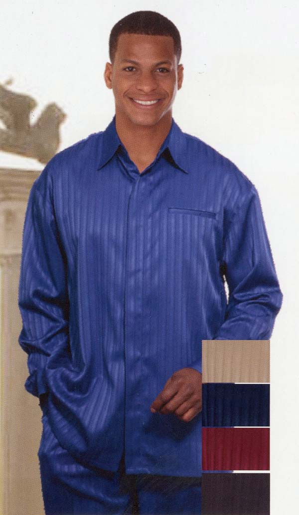 Longstry M2752 Mens Long Sleeve Walking Suit With Subtle Stripes