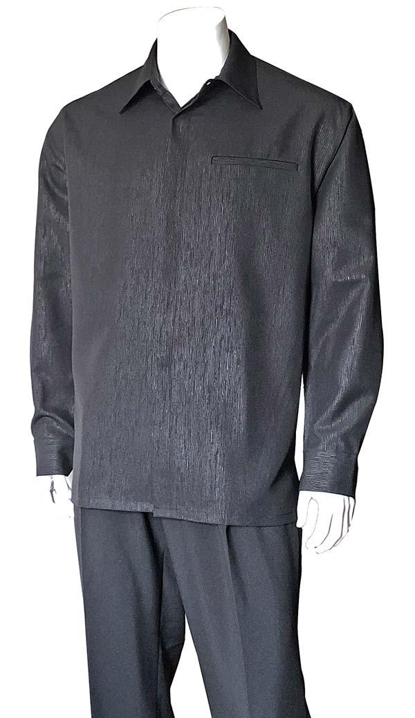 Longstry M2764-Black - Mens Long Sleeve Two Piece Walking Suit