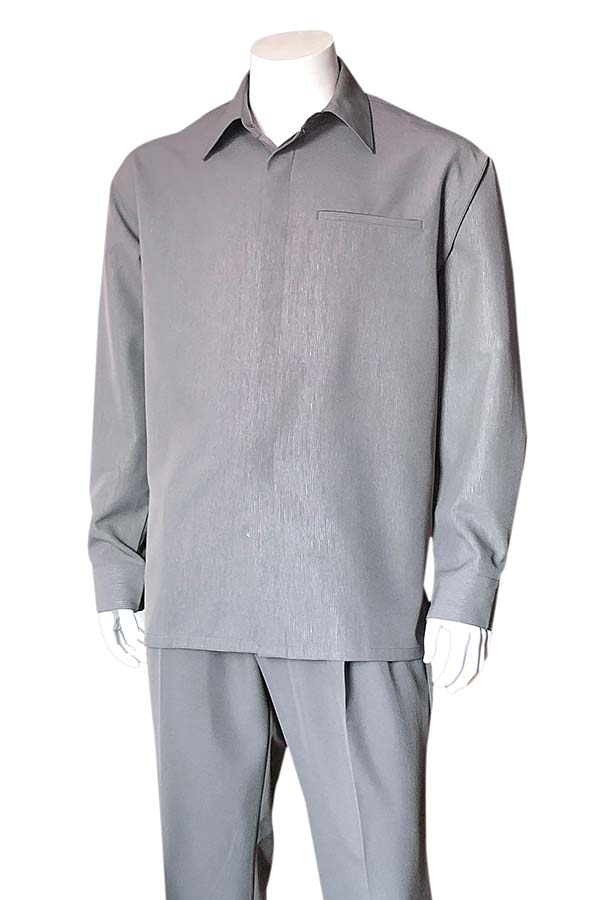 Longstry M2764-Gray - Mens Long Sleeve Two Piece Walking Suit
