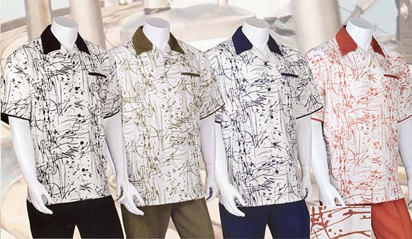 Longstry M2962 Mens Walking Suit With Ink Print Design