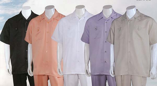 Longstry M2963 Short Sleeve Mens Walking Suit With Chest Pockets