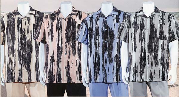 Longstry M2965 Short Sleeve Multi Print Walking Suit For Men
