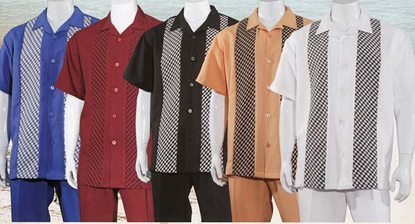 Longstry Longstry M2968 Short Sleeve Walking Suit For Men With Inset Pattern