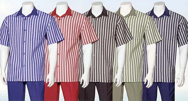 Longstry Longstry M2969 - Mens Short Sleeve Walking Suit With Striped Shirt