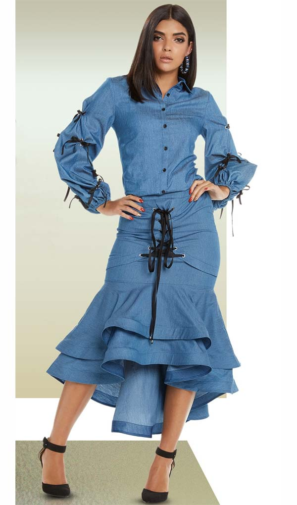 Love The Queen 17220 Womens Jacket & Layered Flounce Skirt Set With Laced Grummet Design