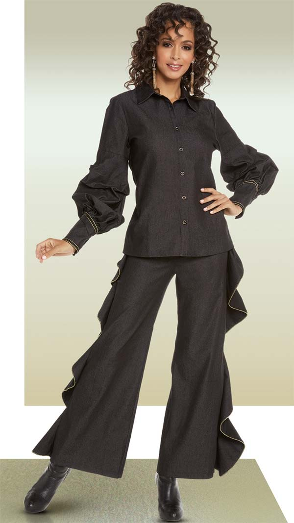 Love The Queen 17221 Womens Jacket & Ruffled Pant Set In Chambray Fabric With Gold Trims