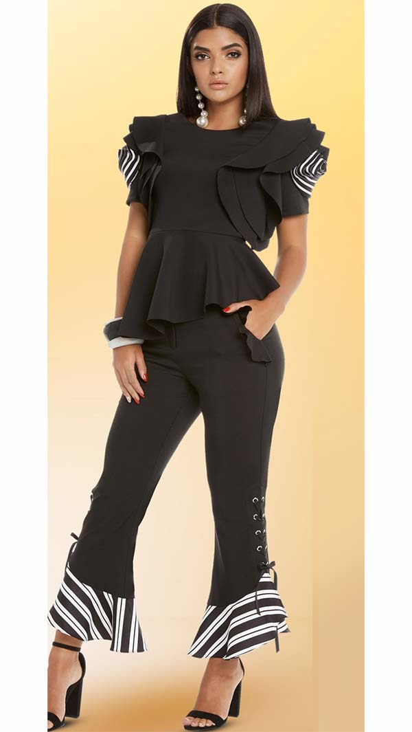 Love The Queen 17222-17223 Womens Pant Set With Stripe & Lacing Design In Poly Crepe Spandex Fabrics