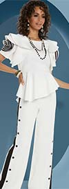 Love The Queen 17224-17225 Womens Stripe & Button Adornded Pant Suit In Poly Spandex Twill Fabrics