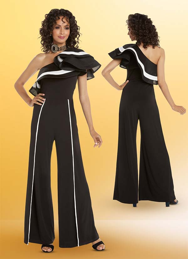 Love The Queen 17228 Womens Wide Leg One Shoulder Jumpsuit In Poly Spandex & Organza Netting Fabrics