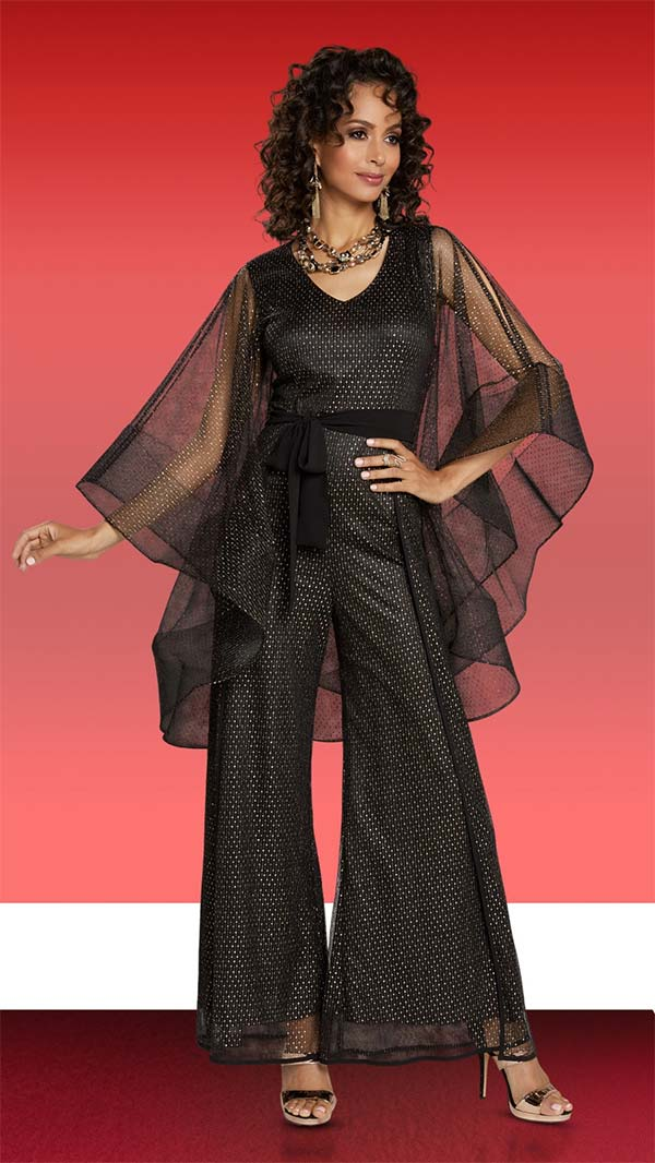 Love The Queen 17229 Womens Wide Leg Jumpsuit In Novelty & Organza Fabrics