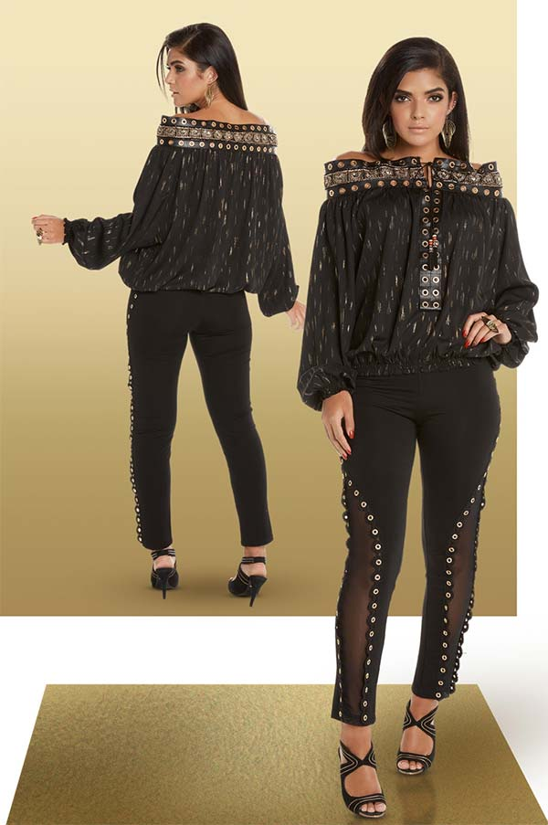 Love The Queen 17232-17234 Womens Grummet Design Off Shoulder Neckline Tunic With Poly Spandex Pants