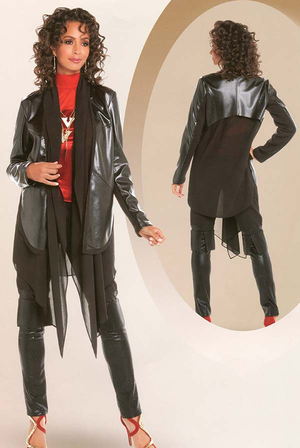 Love The Queen 17236-17238 Womens Leatherette & Chiffon Jacket With Matching Pants