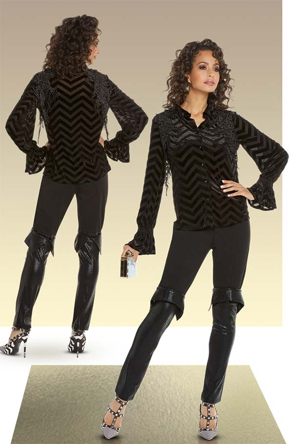 Love The Queen 17237-17238 Womens Novelty Velvet Striped Guipure Lace Top With Spandex Leatherette Pants