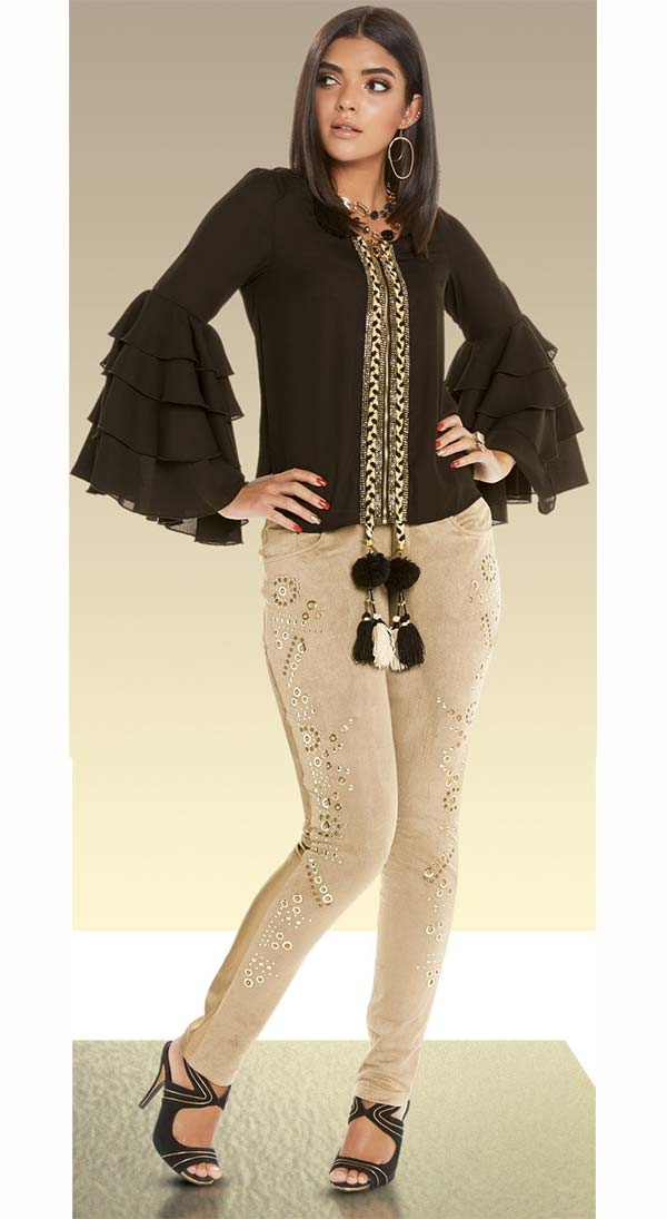 Love The Queen 17239-17242 Womens Poly Crepe Layered Bell Cuff Top With Faux Suede & Leatherette Pants