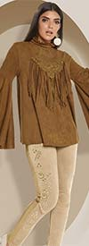 Love The Queen 17241-17242 Womens Wide Bell Sleeve Faux Suede Tunic & Pant Set