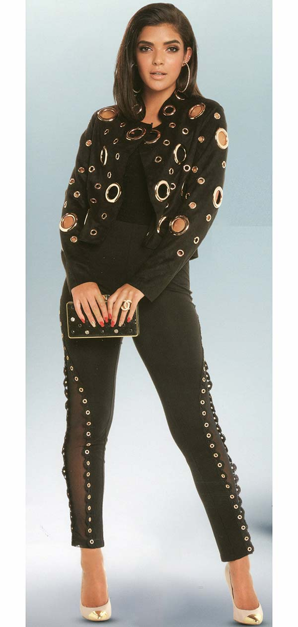 Love The Queen 17243-17234 Womens Grommet Adorned Faux Suede Jacket With Poly Spandex Pants