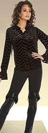Love The Queen 17237 Womens Novelty Velvet Striped Guipure Lace Top