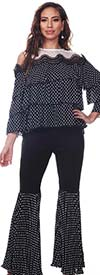 Love The Queen 17259 Womens Polka Dot Print Tiered Design Cold Shoulder Top