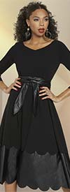 Love The Queen 17308 Womens Belted Dress In Stretch Luxury Crepe & Soft Leatherette Fabric With Scalloped Trim