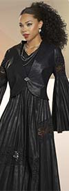 Love The Queen 17311 Womens Jacket In Soft Leatherette Fabric With Accordion Pleated Bell Sleeves And Lace Insets
