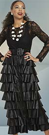 Love The Queen 17313 Soft Leatherette Womens Skirt Featuring Tier Design With Belt