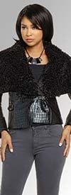 Love The Queen 17317 Womens Jacket In Luxury Leatherette Fabric Trimmed With Soft Faux Fur