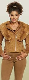 Love The Queen 17321 Womens Faux Suede Jacket With Detachable Soft Faux Fur
