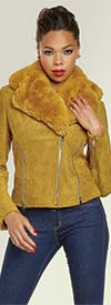 Love The Queen 17322 Luxury Faux Suede Womens Jacket With Detachable Soft Faux Fur