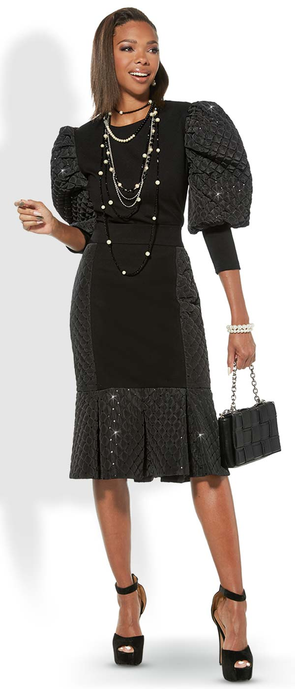 Love The Queen 17325-S Luxury Crepe & Stitched Novelty Fabric Skirt With Sequin Accents