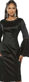 Love The Queen 17328-D Stretch Fabric Sheath Dress With Lace Flounce Sleeves & Grommets