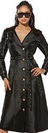 Love The Queen 17330 Long Satin Crepe Coat Dress With Grommets & Leatherette Trim