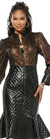Love The Queen 17342 Stitched Leatherette Trumpet Flounce Dress With Animal Print Design