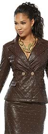 Love The Queen 17349-J Womens Stitched Faux Leather Jacket Trimmed With Studs & Gold Buttons