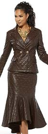 Love The Queen 17349-S Womens Stitched Faux Leather Flounce Skirt With Gold Buttons & Studs