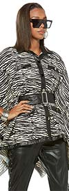 Love The Queen 17353-T Womens Animal Print Faux Leather Trimmed Tunic Top