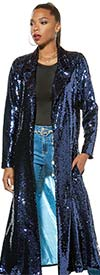 Love The Queen 17355 Sequined Womens Duster With Contrast Color Lining And Side Pockets