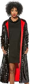 Love The Queen 17356 Womens Sequined Duster With Contrast Color Lining And Side Pockets