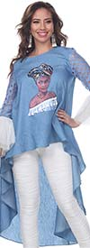 Love The Queen 17244 Womens High Low Ruffle Cuff Sleeve Tunic With Print Graphic