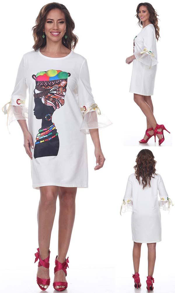 Love The Queen 17245 Womens Laced & Ruffled Cuff Sleeve Tunic With Print Graphic