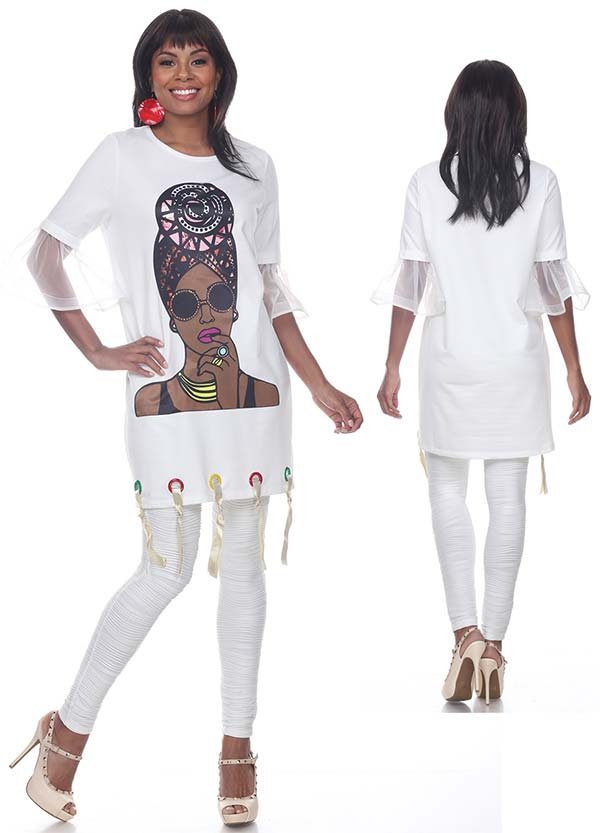 Love The Queen 17246 Womens Laced Hem & Ruffled Cuff Sleeve Tunic With Print Graphic