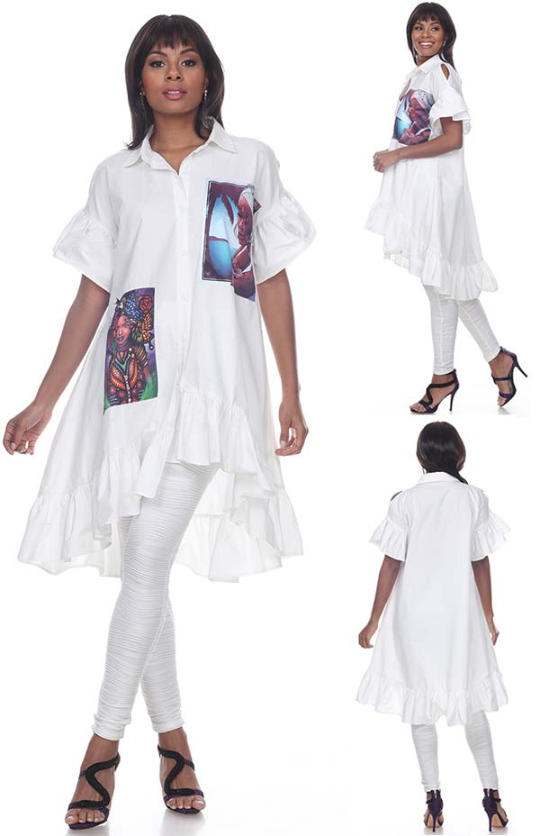 Love The Queen 17247 Ladies High Low Ruffle Cuff & Hem Short Sleeve Tunic With Print Graphic
