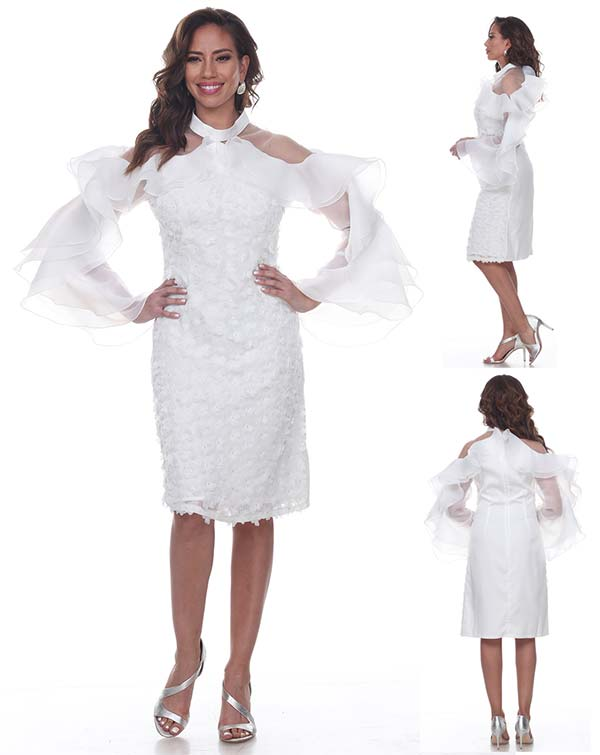 Love The Queen 17250 Womens Dress With Organza Ruffle Sleeves