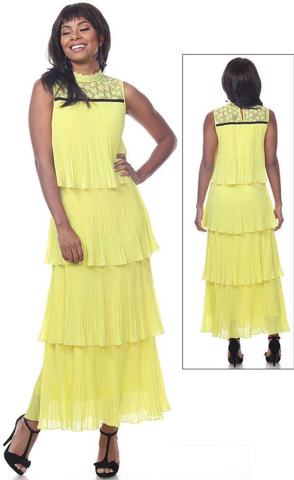 Love The Queen 17255 Sleeveless Dress With Multi Tier Accordion Pleat Design