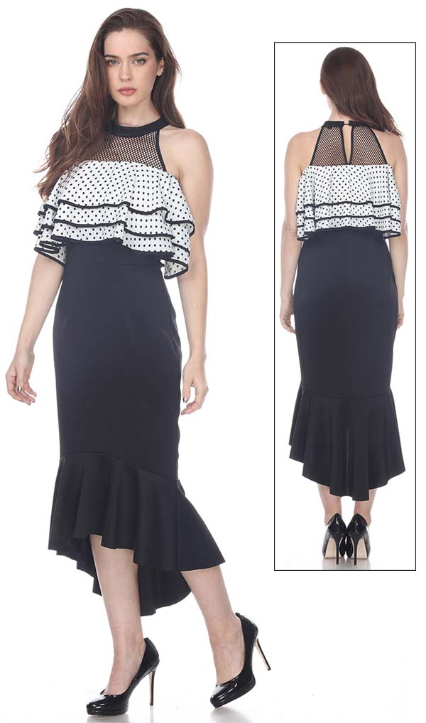 Love The Queen 17256 Sleeveless Flounce Hem Dress With Layered Ruffle & Mesh Bodice