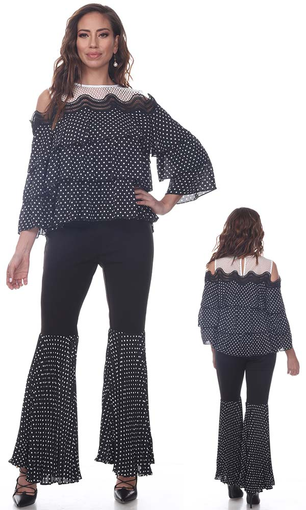 Love The Queen 17259-17260 Multi Tiered Polka Dot Cold Shoulder Top & Flounce Pant Set