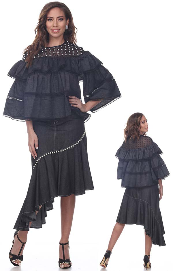 Love The Queen 17265-17266 Pearl Trimed Lace Yoke Denim Top & Asymmetrical Skirt